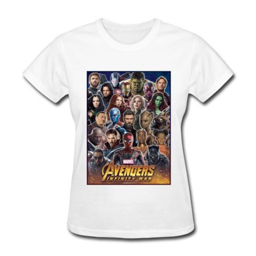 Avengers Infinity War All Gather Women Tshirt Together To Fight Printed Power Heros Spiderman T Shirt