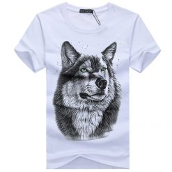 BINYUXD New Summer Brand large size 3D Wolf head T shirt man round collar short sleeve 1