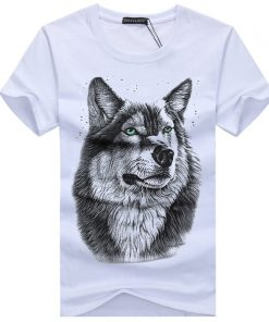 BINYUXD New Summer Brand large size 3D Wolf head T shirt man round collar short sleeve 1