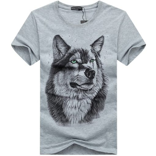 BINYUXD New Summer Brand large size 3D Wolf head T shirt man round collar short sleeve 2