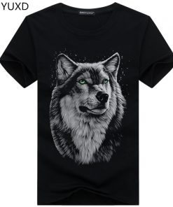 BINYUXD New Summer Brand large size 3D Wolf head T shirt man round collar short sleeve