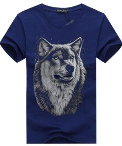 BINYUXD New Summer Brand large size 3D Wolf head T shirt man round collar short sleeve 3