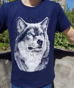 BINYUXD New Summer Brand large size 3D Wolf head T shirt man round collar short sleeve 4