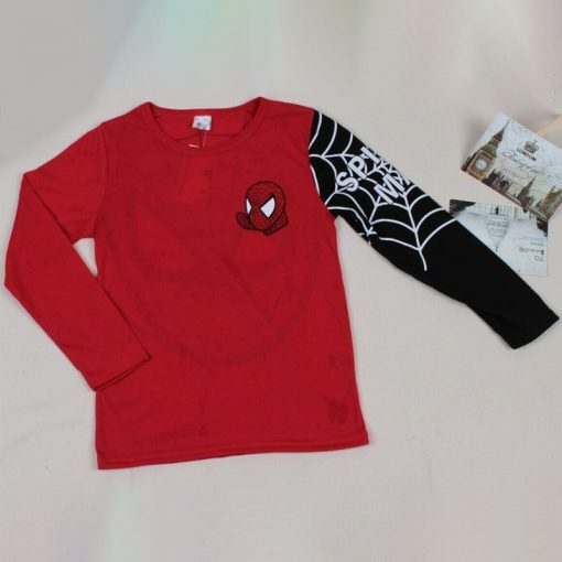 Baby Boys T Shirts Kids Cartoon Spiderman Long Sleeve T shirt Child Patchwork Clothes Autumn Spring