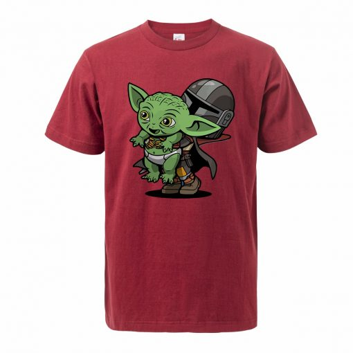 Baby Yoda Figure Men s Tshirt Oversized Bebe Yoda T Shirt The Child Mandalorian Summer Cotton 1