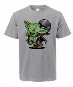 Baby Yoda Figure Men s Tshirt Oversized Bebe Yoda T Shirt The Child Mandalorian Summer Cotton 2