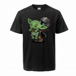 Baby Yoda Figure Men s Tshirt Oversized Bebe Yoda T Shirt The Child Mandalorian Summer Cotton