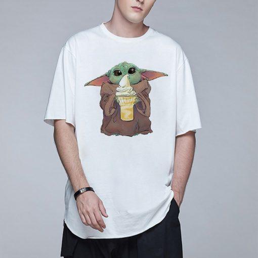 Baby Yoda Mandalorian Men T Shirt Harajuku Star Wars T Shirt Hip Hop Men Top Tees 1