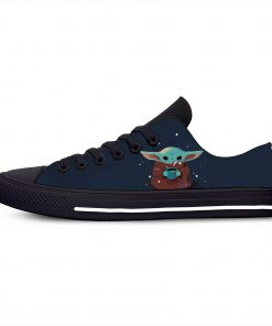 Baby Yoda Mandalorian Star Wars Cartoon Hot Funny Casual Canvas Shoes Low Top Lightweight Breathable 3D 10