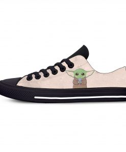 Baby Yoda Mandalorian Star Wars Cartoon Hot Funny Casual Canvas Shoes Low Top Lightweight Breathable 3D 8