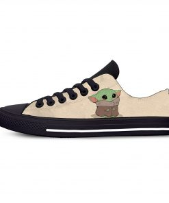 Baby Yoda Mandalorian Star Wars Cartoon Hot Funny Casual Canvas Shoes Low Top Lightweight Breathable 3D 9