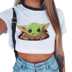 Baby Yoda Mandalorian T Shirt Women Harajuku Star Wars Cartoon T Shirt Satanist Moive Graphic Crop 1