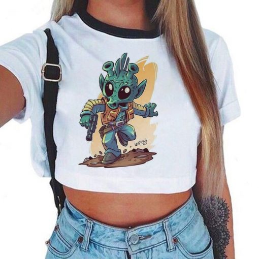 Baby Yoda Mandalorian T Shirt Women Harajuku Star Wars Cartoon T Shirt Satanist Moive Graphic Crop 2