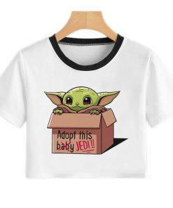 Baby Yoda Mandalorian T Shirt Women Harajuku Star Wars Cartoon T Shirt Satanist Moive Graphic Crop 3