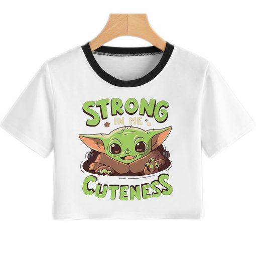 Baby Yoda Mandalorian T Shirt Women Harajuku Star Wars Cartoon T Shirt Satanist Moive Graphic Crop 4