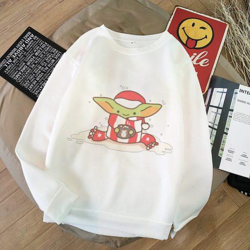 Baby Yoda Shirt Aesthetic Harajuku Hoodies Sweatshirt Pokemon Women Hoodies Women Kawaii Clothes Sweat Femme Thicken 4
