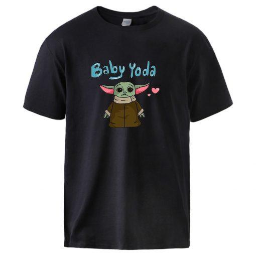 Baby Yoda The Mandalorian T shirts Mens Summer Short Sleeve Tops Man Brand High Quality 100