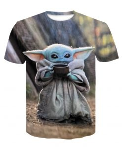 Baby Yoda The Mandalorian t shirt 3D printed Funny Tee Shirt Short Sleeve Star Wars men 2