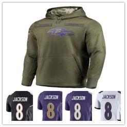 Baltimore LAMAR JACKSON football Sweatshirt Ravens Salute to Service Sideline Therma Performance Pullover Hoodie Olive