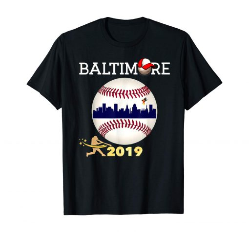Baltimore Oriole Baseball Tshirt 2019 Skyline and Giant Ball