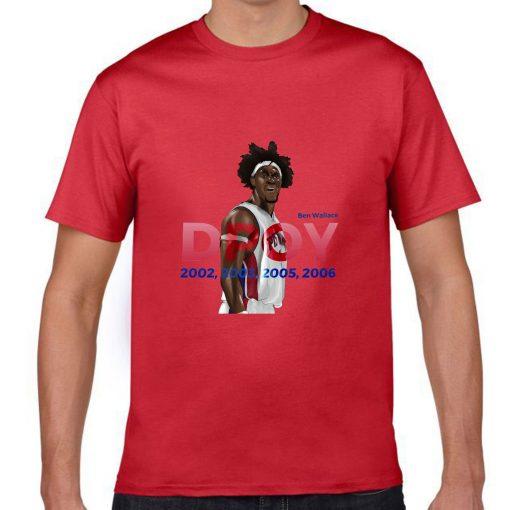 Ben Wallace DPOY Basketball Jersey Tee Shirts Detroit Pistons Superstar streetwear tshirt 1