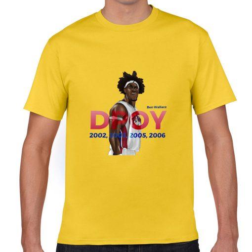 Ben Wallace DPOY Basketball Jersey Tee Shirts Detroit Pistons Superstar streetwear tshirt 3