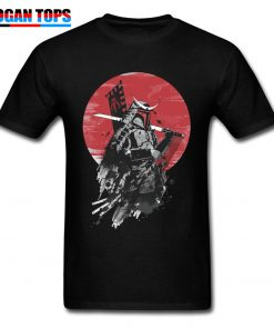 Boba Fett Samurai T shirt Cool Star Wars T Shirt Men Black Tops Vintage Japan Style