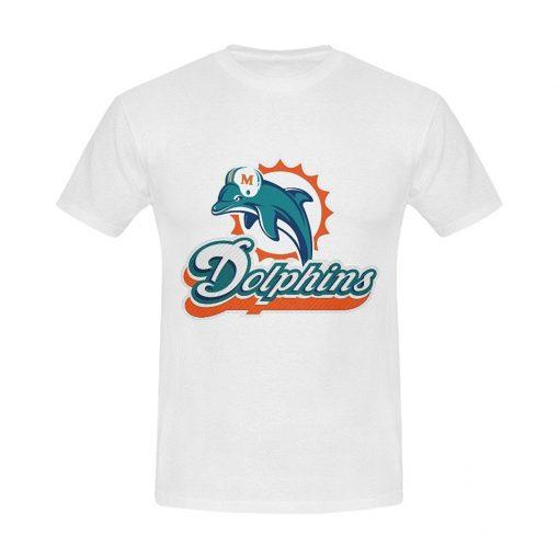Burrows Custom Dolphins Miami Men S Cotton Slim Fit T Shirt White New Brand Clothing T