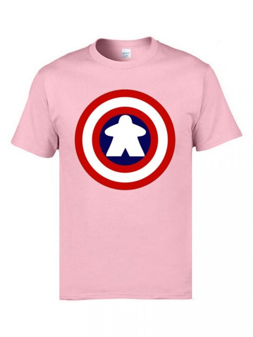 Captain America Tshirts Logo 100 Cotton Men 3D Tshirts Captain Meeple Craft T shirts Top Quality 1