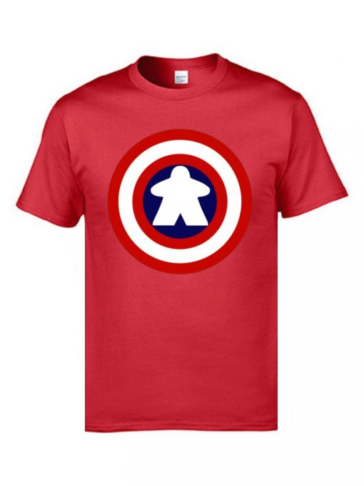 Captain America Tshirts Logo 100 Cotton Men 3D Tshirts Captain Meeple Craft T shirts Top Quality 2