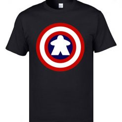 Captain America Tshirts Logo 100 Cotton Men 3D Tshirts Captain Meeple Craft T shirts Top Quality