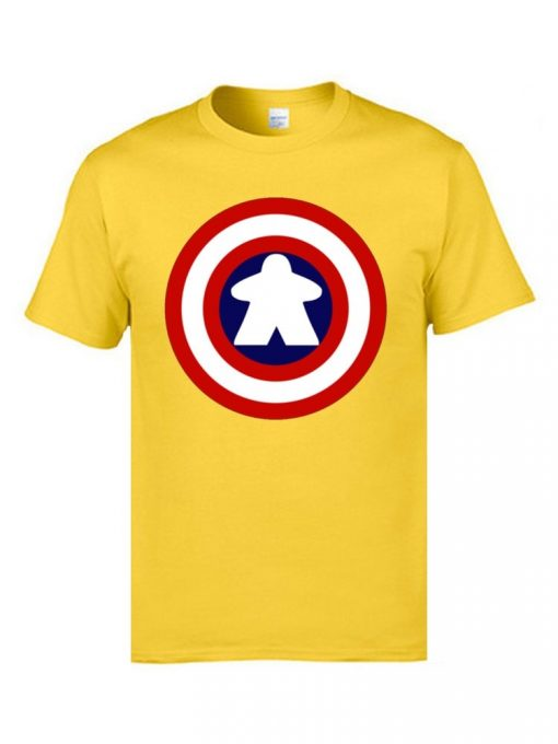 Captain America Tshirts Logo 100 Cotton Men 3D Tshirts Captain Meeple Craft T shirts Top Quality 3