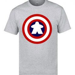Captain America Tshirts Logo 100 Cotton Men 3D Tshirts Captain Meeple Craft T shirts Top Quality 4