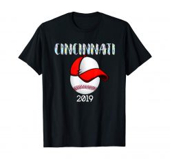 Cincinnati Baseball Tshirt 2019 Red Hat and Giant Ball