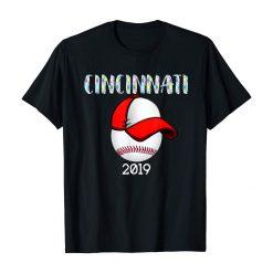 Cincinnati Baseball Tshirt 2019 Red Hat and Giant Ball