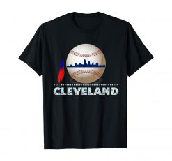 Cleveland Hometown Indian Tribe Tshirt Ball with Skyline