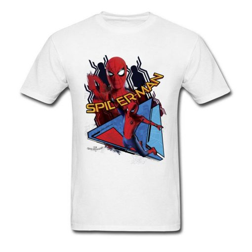 Comic Spiderman T Shirt Mens T shirt Swinging Spider Man Homecoming TShirt Cotton Autumn Crewneck Clothing 2