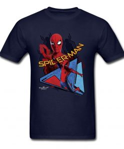 Comic Spiderman T Shirt Mens T shirt Swinging Spider Man Homecoming TShirt Cotton Autumn Crewneck Clothing