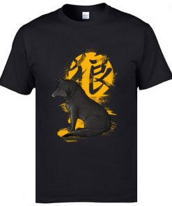 Cool T Shirts Men s Fashion Casual Tops Tees Oversized XXL Ookami Coyote Wolf Printed On 4