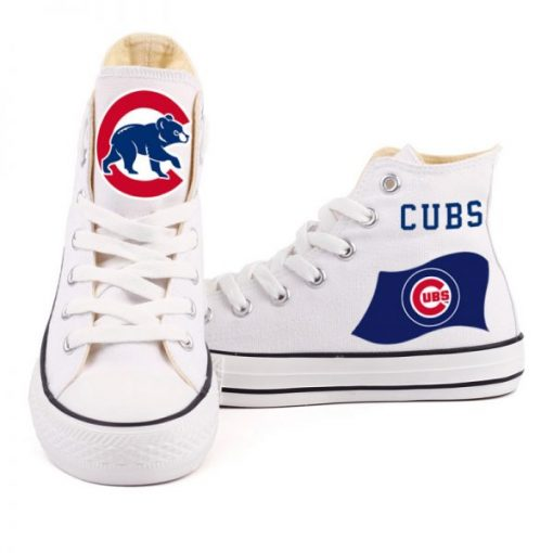 Customized Chicago Cubs Canvas Vulcanize High Top custom Shoes 1