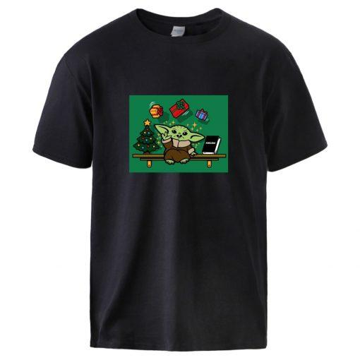 Cute Baby Yoda Mandalorian T shirts Mens Summer 100 Cotton Tops Short Sleeve Tops Streetwear 2020