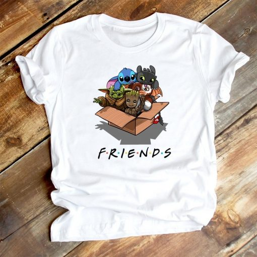 Cute Lilo Stitch Baby Yoda Groot Friend T Shirt Women Clothes Casual Cartoon O Neck Short 3