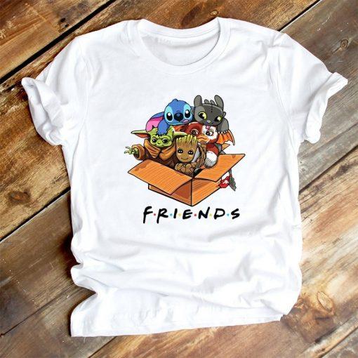 Cute Lilo Stitch Baby Yoda Groot Friend T Shirt Women Clothes Casual Cartoon O Neck Short