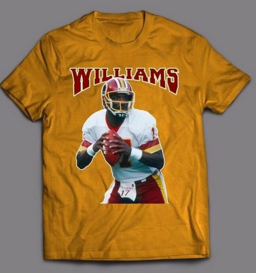 DOUG WILLIAMS THROWBACK Tops Tee T Shirt REDSKINS OLDSKOOL ARTWORK FULL FRONT OF T Shirt Latest