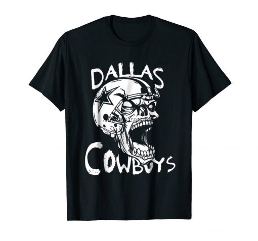 Dallas Football Cowboy Funny Skull Black T shirt For Fans 1