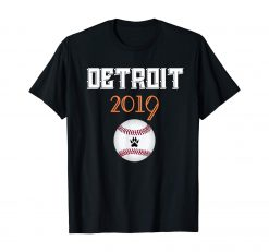 Distressed Tiger Mascoit Tshirt 2019 Detroit Hometown
