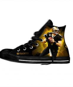 Drew Brees New Orleans Football Star FansFashion Lightweight High Top Canvas Shoes Men Women Casual Breathable 3