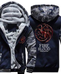 FIRE AND BLOOD Print Hoodies For Men 2019 Autumn Winter Streetwear Mens Sweatshirts Game Of Thrones 1