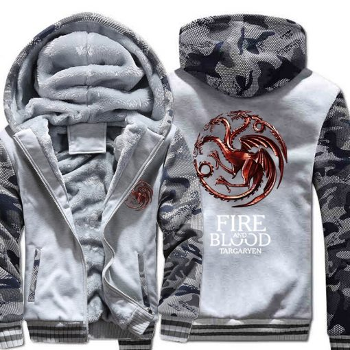 FIRE AND BLOOD Print Hoodies For Men 2019 Autumn Winter Streetwear Mens Sweatshirts Game Of Thrones 2