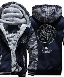 FIRE AND BLOOD Print Hoodies For Men 2019 Autumn Winter Streetwear Mens Sweatshirts Game Of Thrones
